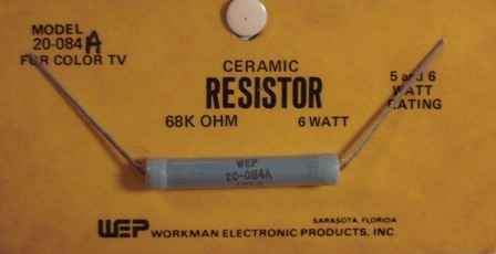 Workman Ceramic Resistor 68K Ohm 6 Watt